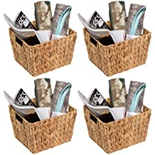 "Trademark Innovations 11.5"" Hyacinth Storage Basket with Handles, Rectangular (Set of 4)"