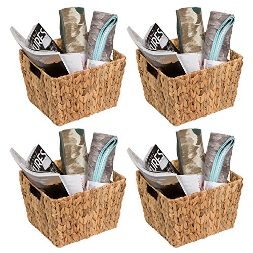 Trademark Innovations Hyacinth Storage Basket with Handles, Rectangular (Set of 4, 11.5