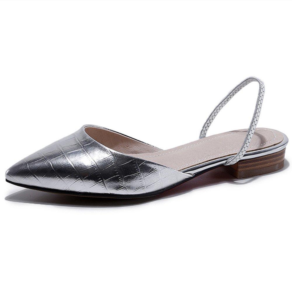 Nine Seven Women's Pointy Toe Slingback Flats - Handmade Plain Comfortable Shoes - Fashion, Gracef B06XPXDYK7 9 B(M) US|Silver
