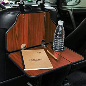 Mr.Ho Multi-Functional Car Table Car Back Seat Folding Table Wooden Portable Foldable Vehicle Seat Back Table Tray, Laptop Notebook Deck, Food Desk and Cup Holder(Red)
