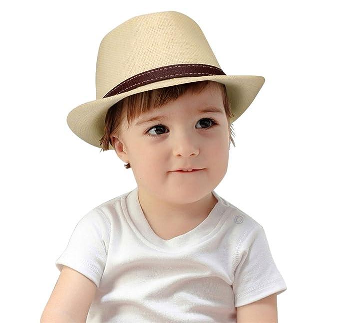 Kids Summer Fedora Vintage Panama Short Brim Straw Fedora Hat Beige W Belt ccf214bdfa55