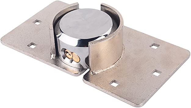 Garage Shed Van Door STEEL HASP LOCK Locking 4 sizes 3 Finishes FIXINGS
