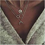Edary Boho Layered Necklace Moon Necklaces Map Pendant Silver Jewelry for