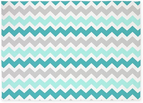 CafePress Teal Grey White Chevron 5'X7'Area Rug Decorative Area Rug