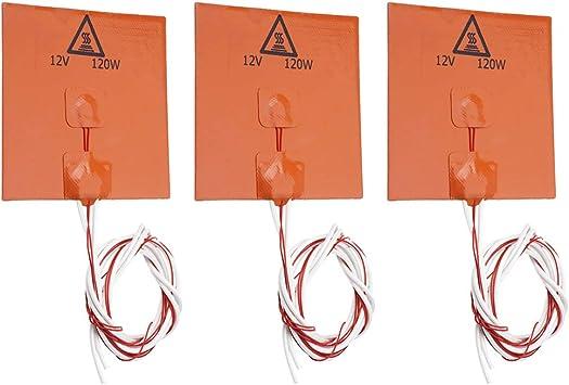 120mm Flexible Rubber Heater Mat 3D Printer Heating Bed 12V 120W 3Pcs//Set 120