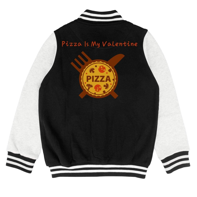Autumn Kids Girls Cotton Pizza is My Valentine Custom Baseball Jacket Hoodie