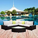Cheap U-MAX New 6 Pieces Patio PE Rattan Wicker Sofa Sectional Furniture Sets