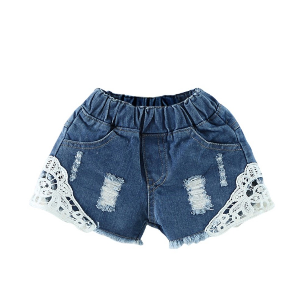 Brightup 1-7 Years Girls Shorts, Denim Shorts With Lace, Summer Shorts,Kids Jeans