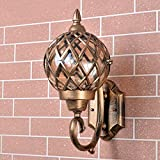 Modeen Classic Brass Color Rustic Waterproof Traditional Outdoor Wall Light Hallway Winter Garden Balcony Porch Wall Lamp Wall Sconce Glass Lantern With E27 Light Source F