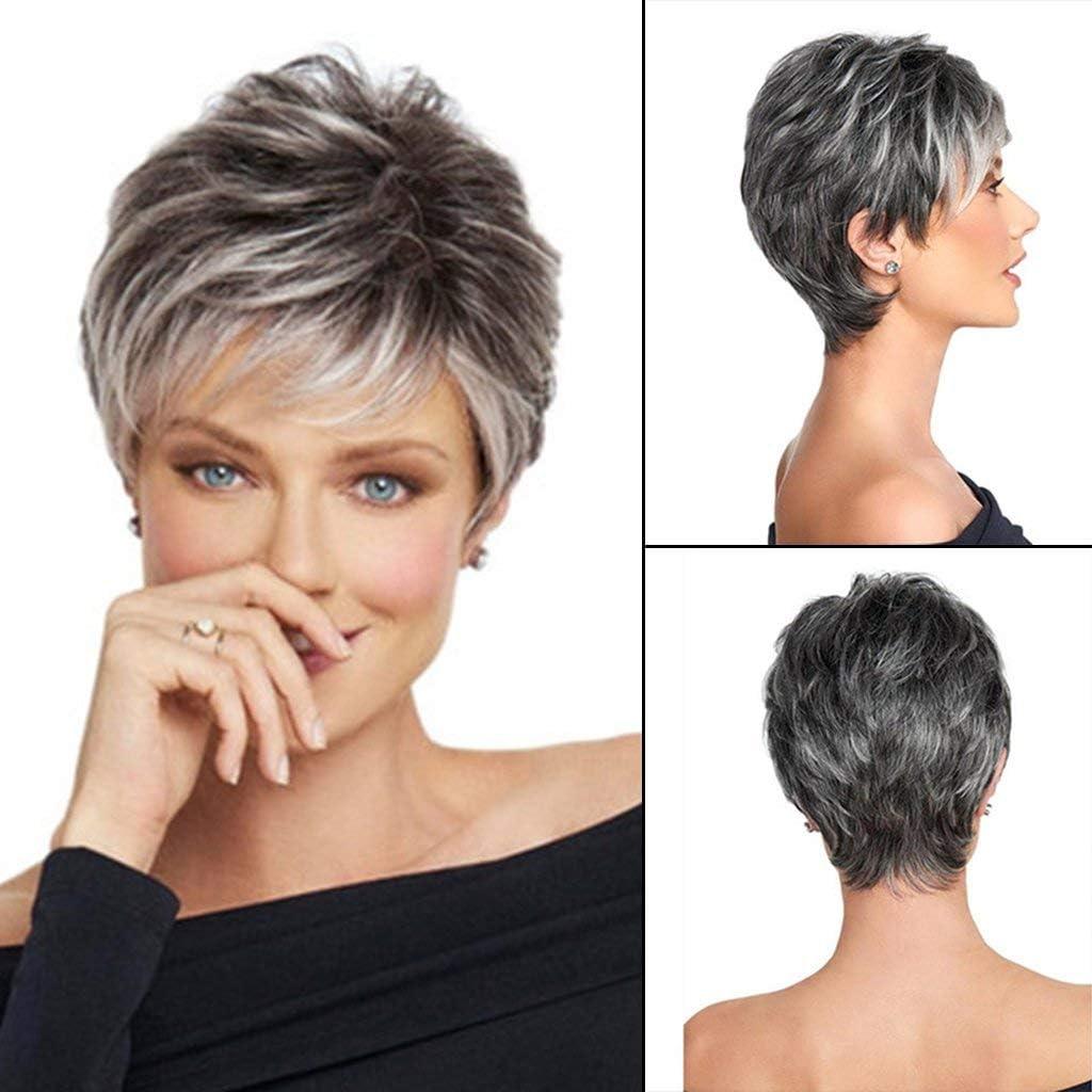 Ogquaton 11 Femmes Cheveux Synth/étiques Ombre Argent Blanc Court Perruque Fris/ée Souligne Couches Durable et Utile