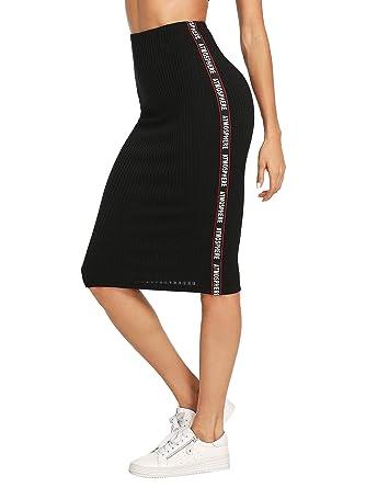 1d0a5523a7 WDIRARA Women's Elastic Waist Slim Bodycon Midi Pencil Rib Knit Skirt Black  XS