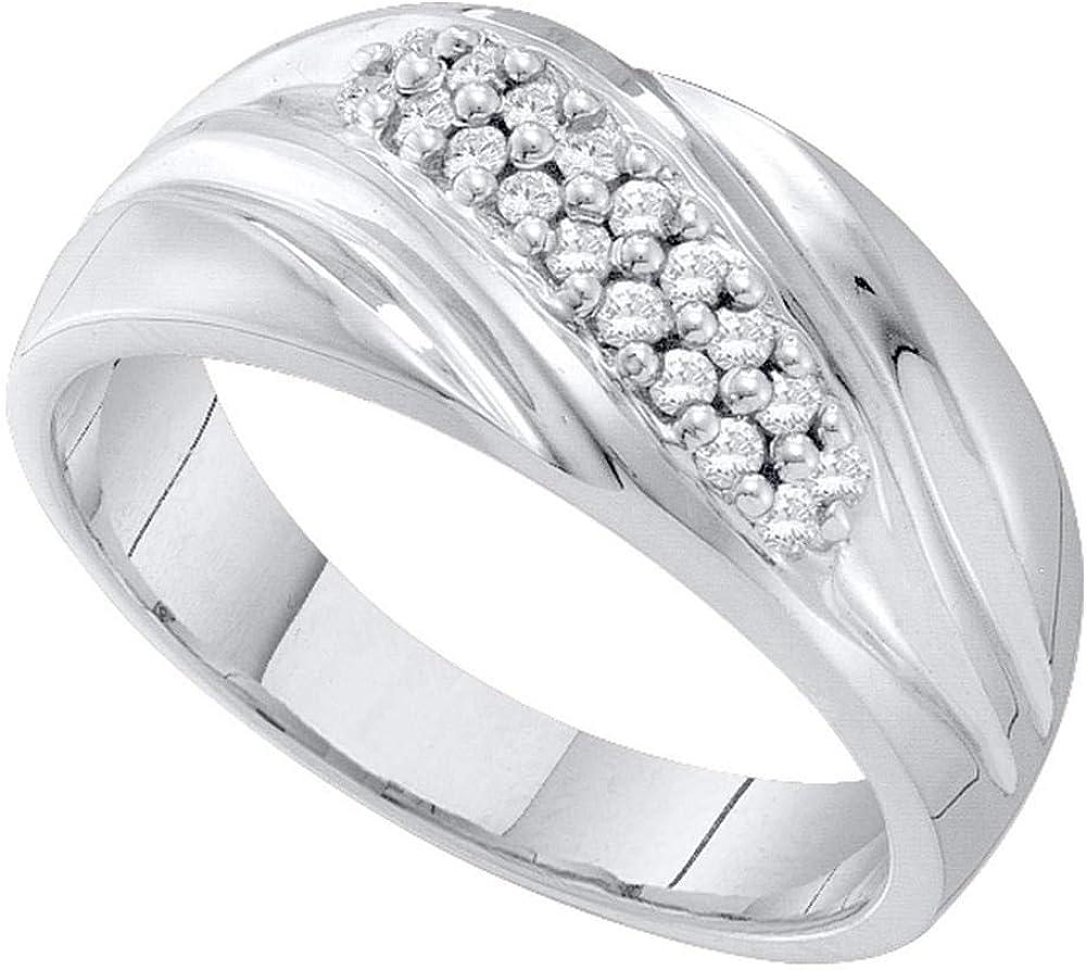 10kt White Gold Mens Round Pave-Set Diamond Diagonal Double Row Wedding Band 1//4 Cttw