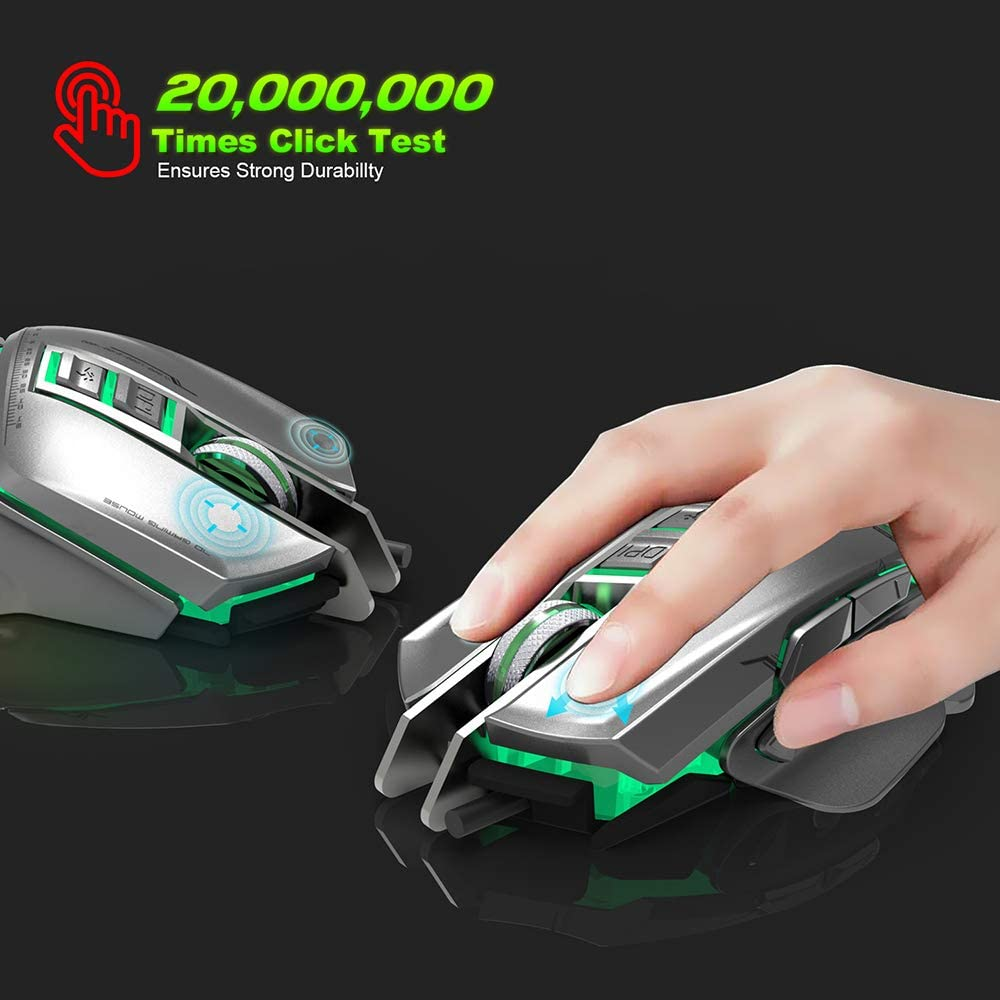 11 Buttons Games,Silver Programmable Optical Mouse 3200 Adjustable DPI Ergonomics Suitable for Work Weight Adjustment BAIYI Gaming Mouse
