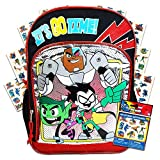 Teen Titans Go Backpack for School Kids ~ Deluxe 16' Teen Titans Backpack with Stickers (Teen Titans School Supplies)