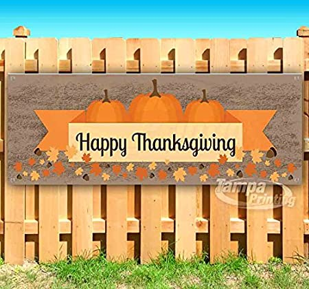 New Many Sizes Available Store Happy Thanksgiving 13 oz Heavy Duty Vinyl Banner Sign with Metal Grommets Advertising Flag,