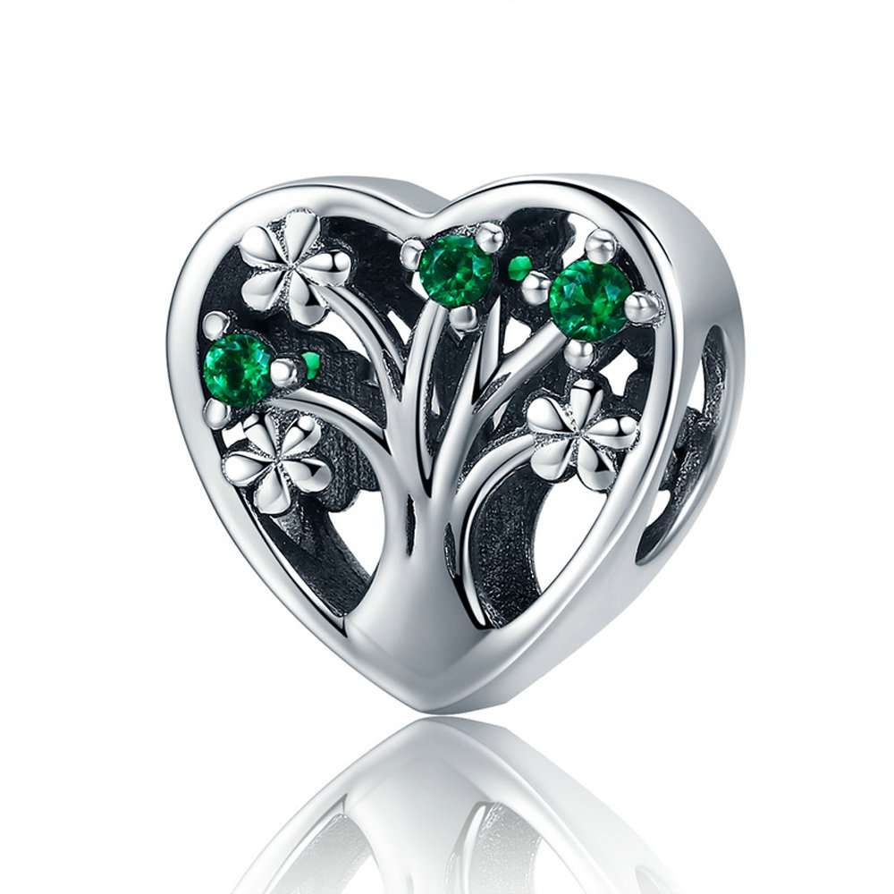 The Kiss Tree of Life Summer Lush Green/Clear CZ 925 Sterling Silver Bead Fits European Charm Bracelet