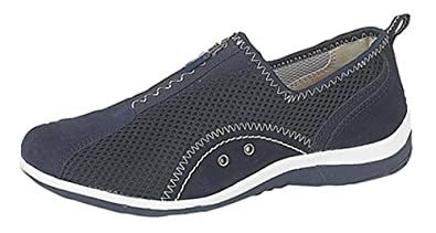 4502c09b8f66 Boulevard KIMBERLEY Ladies Centre Zip Mesh Leisure Shoes Blue  Amazon.co.uk   Shoes   Bags