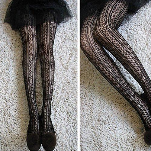 Hot Fashion Women Soft Stripe Lace Shaped Tights Pantyhose Mesh Socks Stockings
