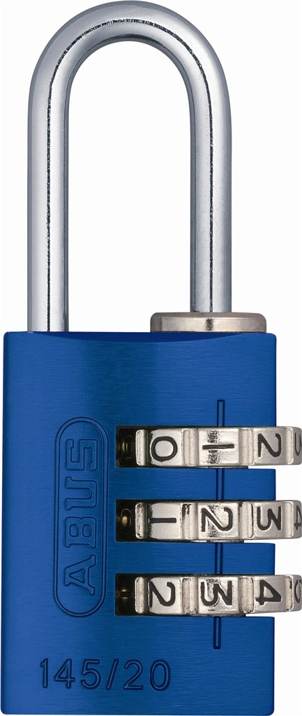 ABUS 145/20 C 20mm Body 3 Dial Resettable Combination Padlock, Blue
