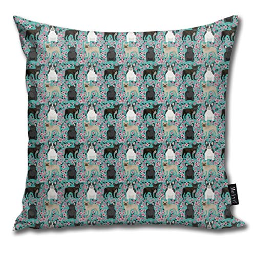 Decorative Square Throw Pillow Covers French Bulldog Fawn Coat (tiny Scale) Cherry Blossom Fabric Turquoise_1814 17.7 x 17.7 Inch 45 x 45 cm (Fawn French Bulldog)