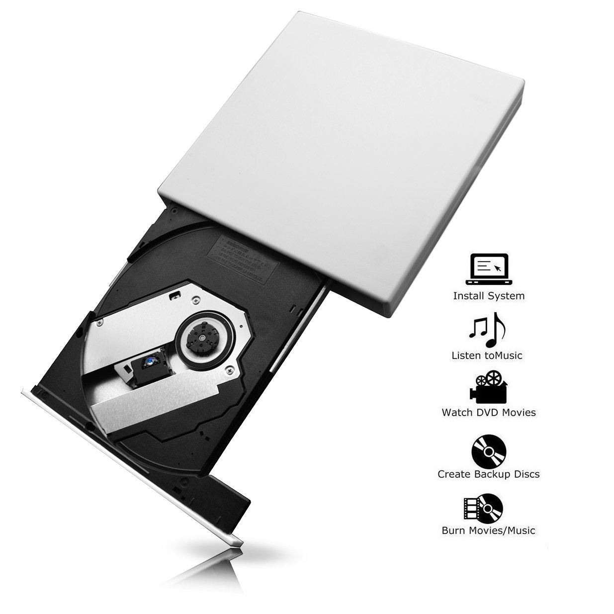 External DVD Drive USB 2.0 CD-RW Burner Drive For Mac,Windows 2000/XP/Vista/7/8/10,Ultra Notebook PC Desktop Computer,Plug and Play,No Need to Install Driver with CD Driver (white)