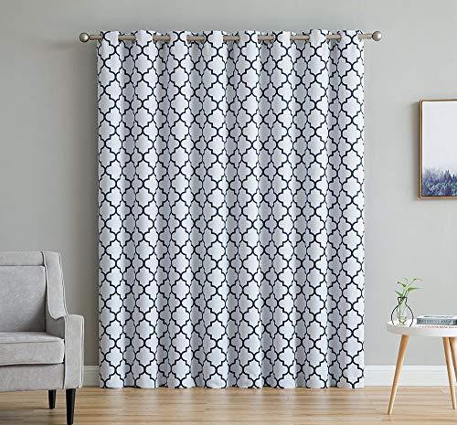 "HLC.ME Lattice Print Thermal Grommet Blackout Patio Door Window Curtain for Sliding Glass Door - Platinum White & Navy Blue - 100"" W x 84"" L - 1 Panel"