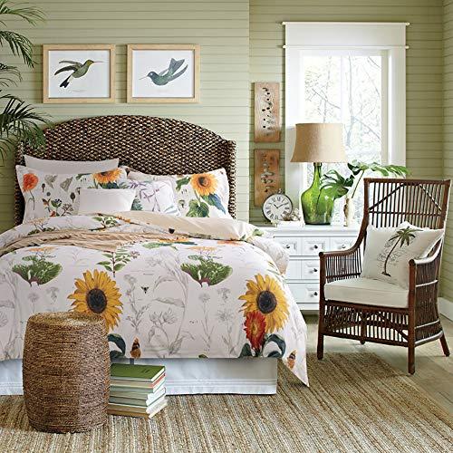 Sunflower Design Bedding Twin XL Size 3Pc(1 Duvet Cover +2 Pillowcase/Shams) 60% Bamboo Fiber + 40% Egyptian Cotton Small Fresh ()