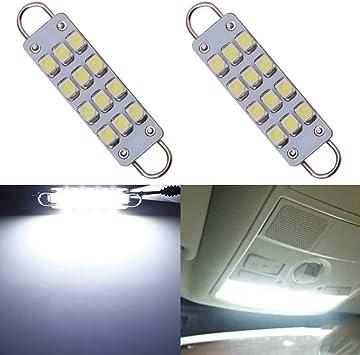 2 x White 44mm 12SMD Rigid Loop LED Interior Door Map Light Bulbs 561 562 212-2
