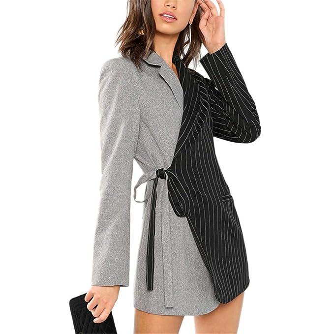 Amazon.com: Blazers y chaquetas ColorBlock Corbata Cintura ...