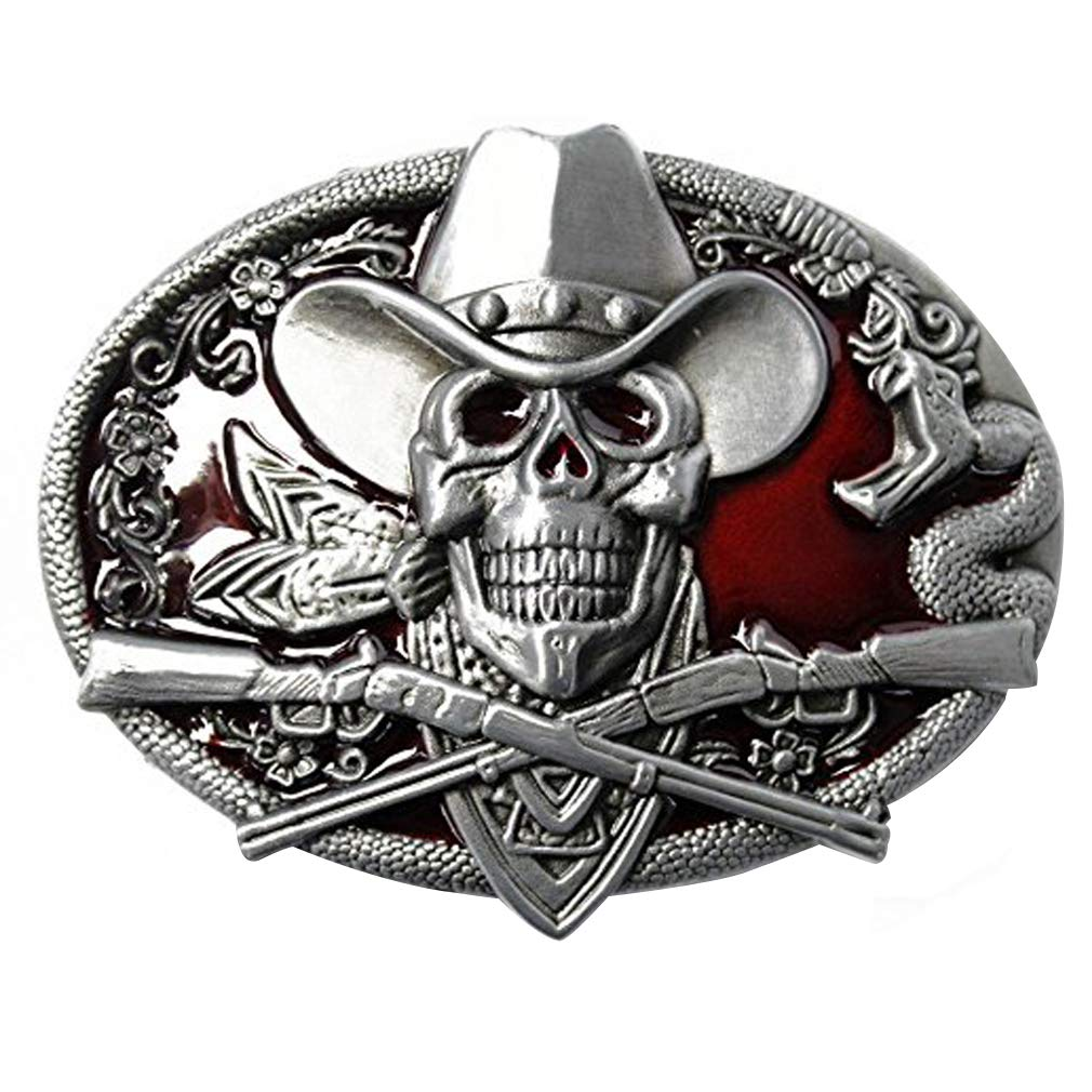 LKMY 3D Skull Belt Buckle For Men And Women American Indian Style Wizard Skull