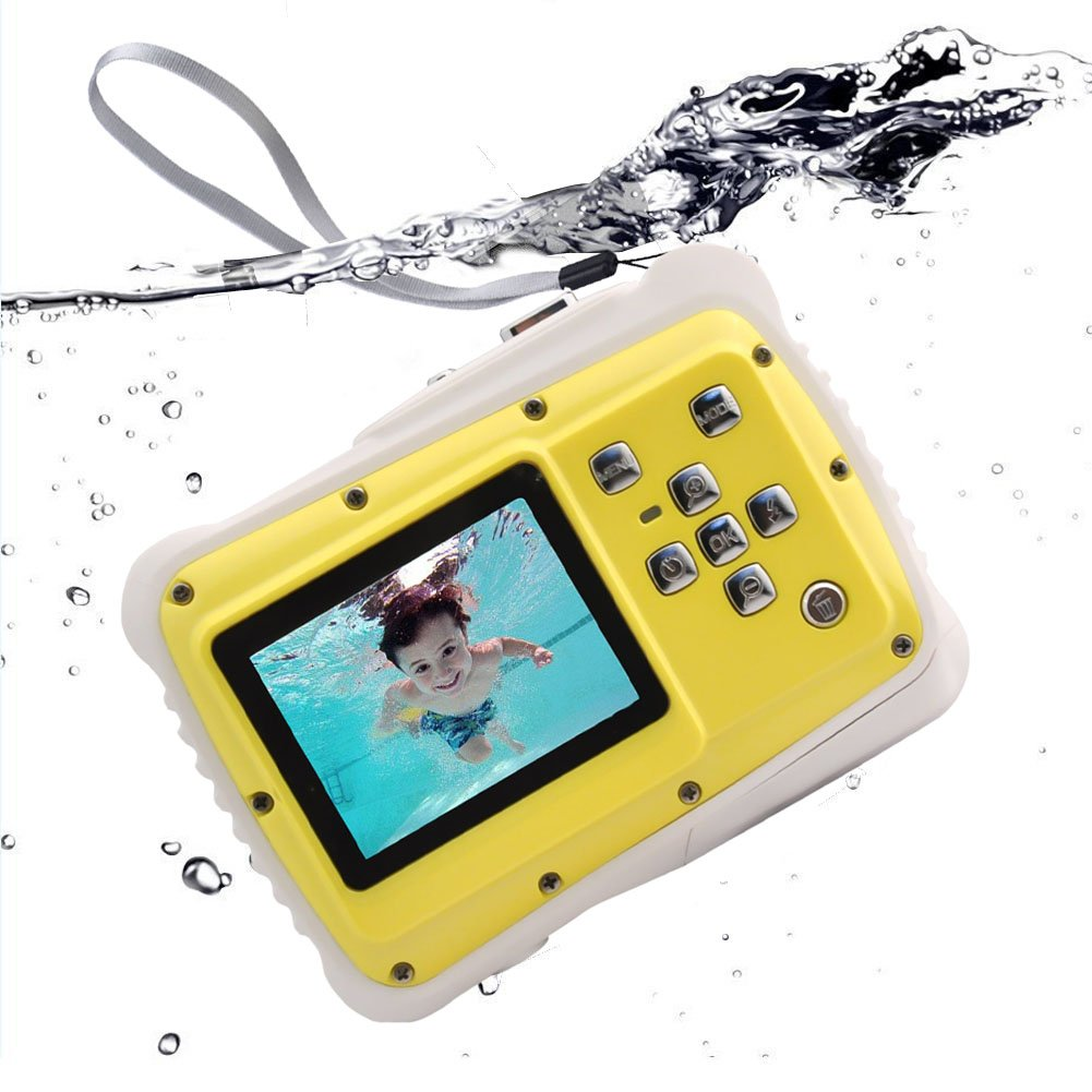 Waterproof Kids Digital Camera, Underwater Action Camera with 2-Inch LCD 12MP HD Video Underwater Camcorder for Children Boys Girls Gift Toys (Yellow) …