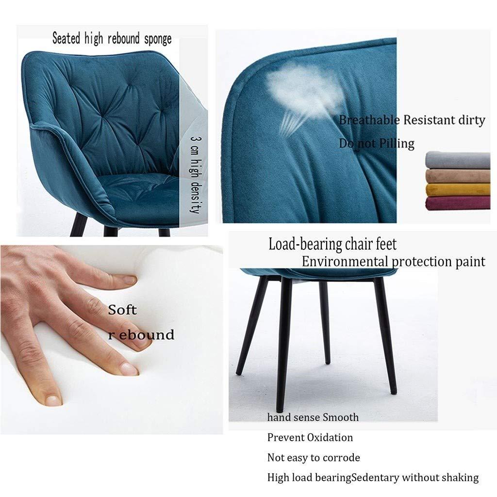 HEJINXL Uppsättning av 2 sammet ryggstöd järn färg fötter matstol modern minimalistisk hem kreativ fritidspall restaurang kontor salong stol (färg: A) c