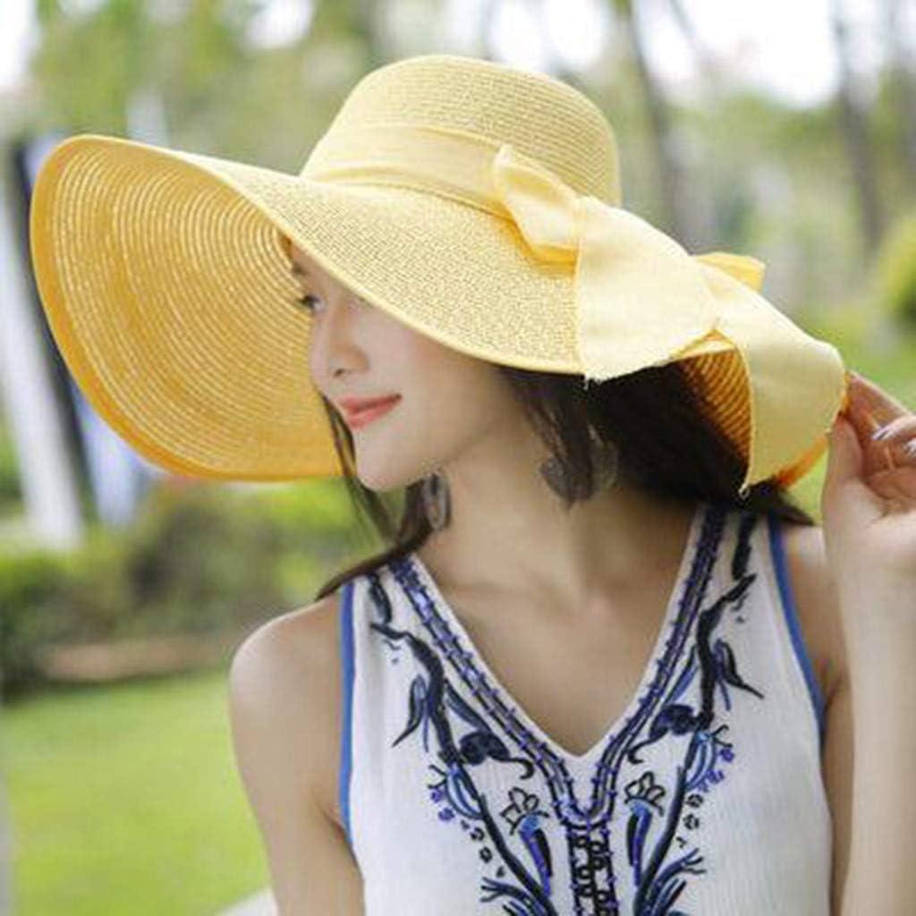 Philohewen Summer Beach Sun Hats for Women UPF Woman Foldable Floppy Travel Packable UV Protection Cotton Wide Brim Fedora Beach Sun Hat Organza Tea Party Wedding Hat Roll up Straw Hat