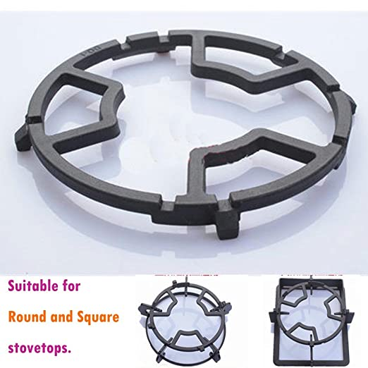 TAMUME Universal Black Cast Iron Wok Support Ring Stove Trivets for Kitchen and Camping Stove Rack Moka Pot Holder for Gas Hob