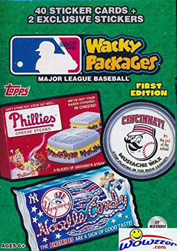 (2016 Topps Wacky Packages MLB Baseball EXCLUSIVE Factory Sealed Value Box with Special BONUS PACK with 2 Silver Sticker Parallels! Look for Autograph, Relic, Sketch and Parallel Cards! Wowzzer!)