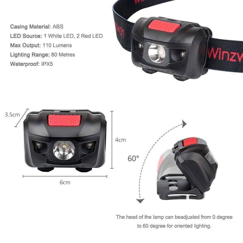 lectura senderismo luz delantera ligera para correr Winzwon Linterna frontal LED superbrillante con 4 modos de brillo acampar 6 pilas AAA incluidas pesca