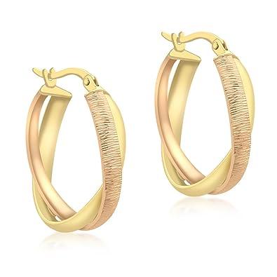 Carissima Gold 9ct 2 Colour Gold Diamond Cut Oval Creole Earrings MtVK36kTZ