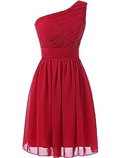 b41b1c16960 Kiss Dress Women s Short Bridesmaid Dresses One Shoulder Chiffon Prom Gowns