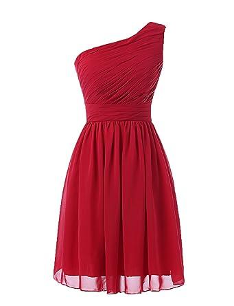 a8cae0dde0925 Kiss Dress Women's Short Bridesmaid Dresses One Shoulder Chiffon Prom Gowns  (S, Burgundy)