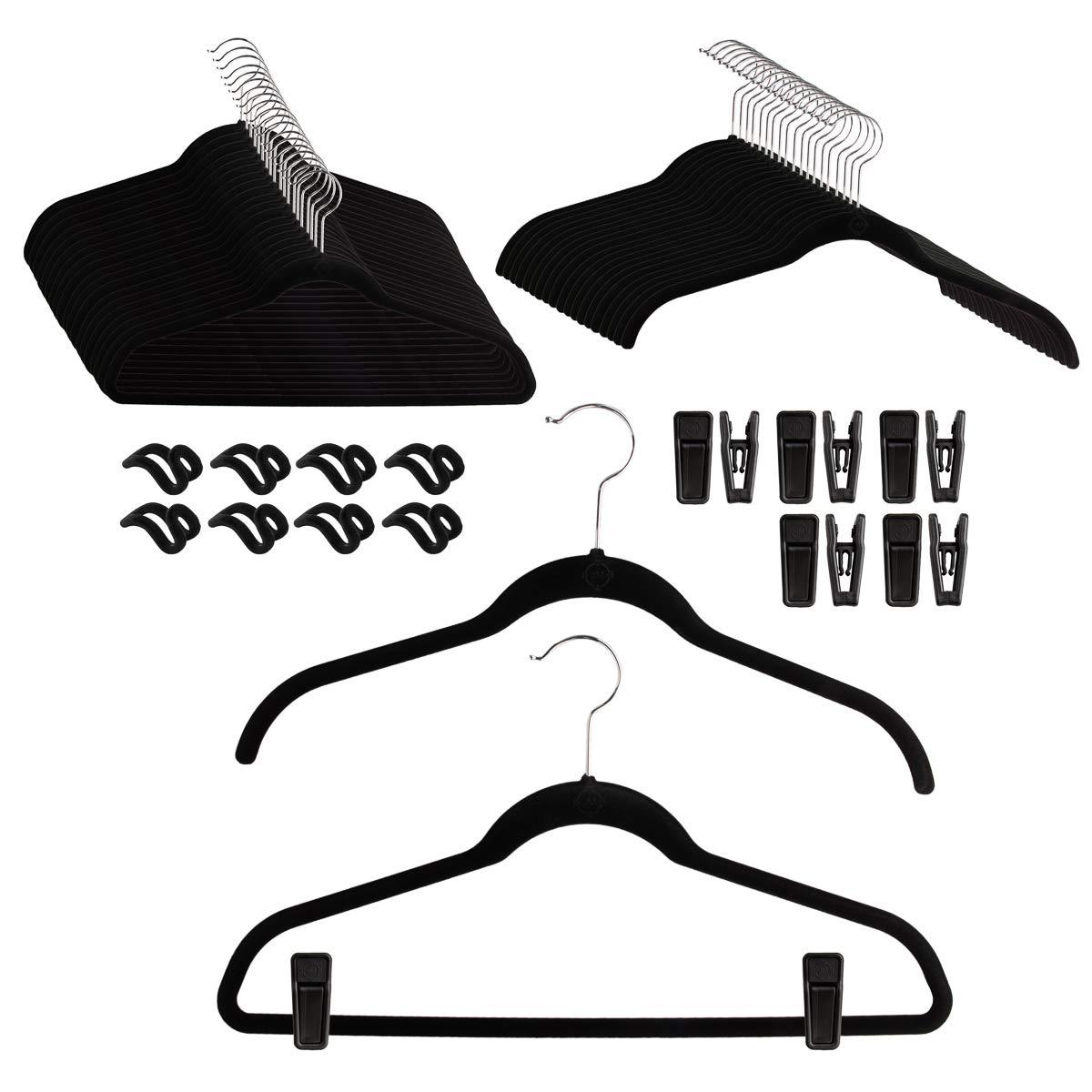 Joy Mangano (68 Piece Set Huggable Clothing Hangers Non Slip Velvet Hangers with Finger Clips Space Saving Clothes Hanger with Bar