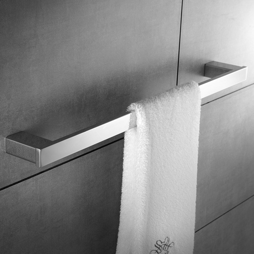 Bath Single Towel Bar Rack Contemporary Square Hotel Towel Bar Hanger Shower Hand Towel Holder Modern Heavy Duty Kitchen Shelf Hanging Rod Storage Stainless Steel Polished Chrome Wall Mount by KOOLIFT