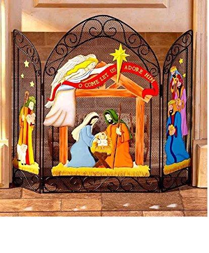 Nativity Christmas Fireplace (Custom Carved Fireplace Mantel)