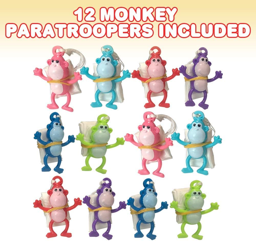 ArtCreativity Mini Monkey Paratroopers with Parachutes Fun Zoo Animal Themed Party Favors for Boys and Girls Pack of 12 Durable Plastic Guys Playset Vinyl Parachute Toys in Assorted Colors