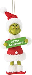 Department 56 Possible Dreams Dr. Seuss How The Grinch Stole Christmas Merry Grinchmas Hanging Ornament, 5 Inch, Multicolor