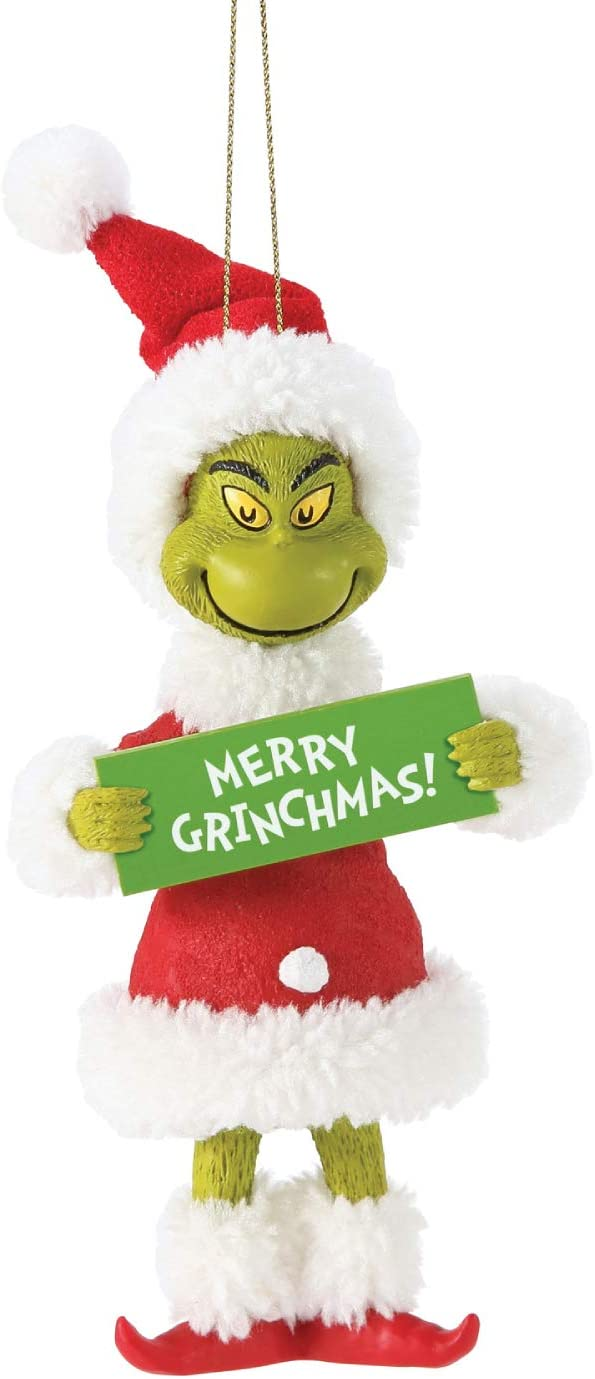 Department 18 Possible Dreams Dr. Seuss How The Grinch Stole Christmas  Merry Grinchmas Hanging Ornament, 18 Inch, Multicolor