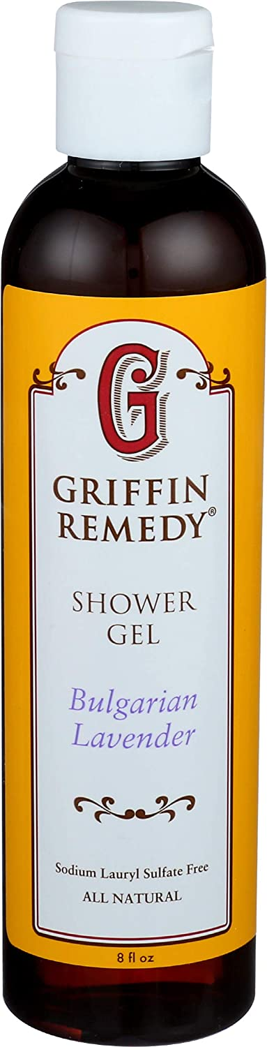 Griffin Remedy Shower Gel - All-Natural Calming Lavender Essential Oils and Organic MSM, Aromatherapy, Paraben Free, Sulfate Free 8 fl oz, 1 count