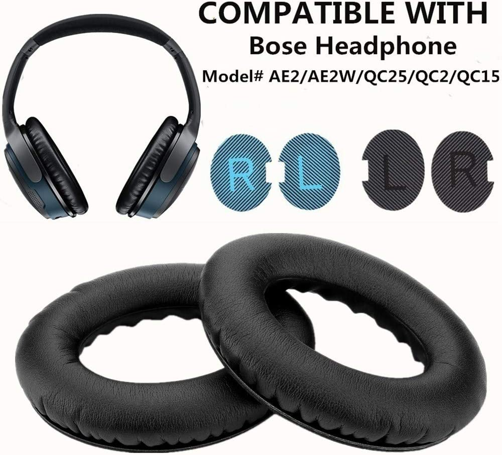 Almohadillas de Repuesto,Auriculares Bose AE2/AE2W/QC25/QC2/QC15 WADEO Amortiguador del cojín de oído de la Espuma de 2 Pedazos y 4 de Repuesto de Almohadillas Internas (Negro)