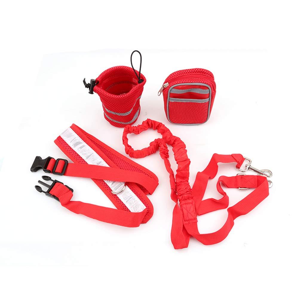Hands Free Dog Walking Belt Ajustable Dog Leash Waist Belt Pet Dog Leash Coupler Running and Jogging Lead Belt for Dogs with 2 Pack Bags and Reflective Strip