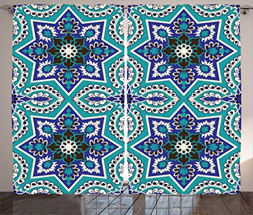 Ambesonne Arabian Decor Collection, Arabesque Pattern Traditional Islamic Art Geometric Decorative Persian Damask Art, Living Room Bedroom Curtain 2 Panels Set, 108 X 84 Inches, Cobalt Blue Teal by Ambesonne