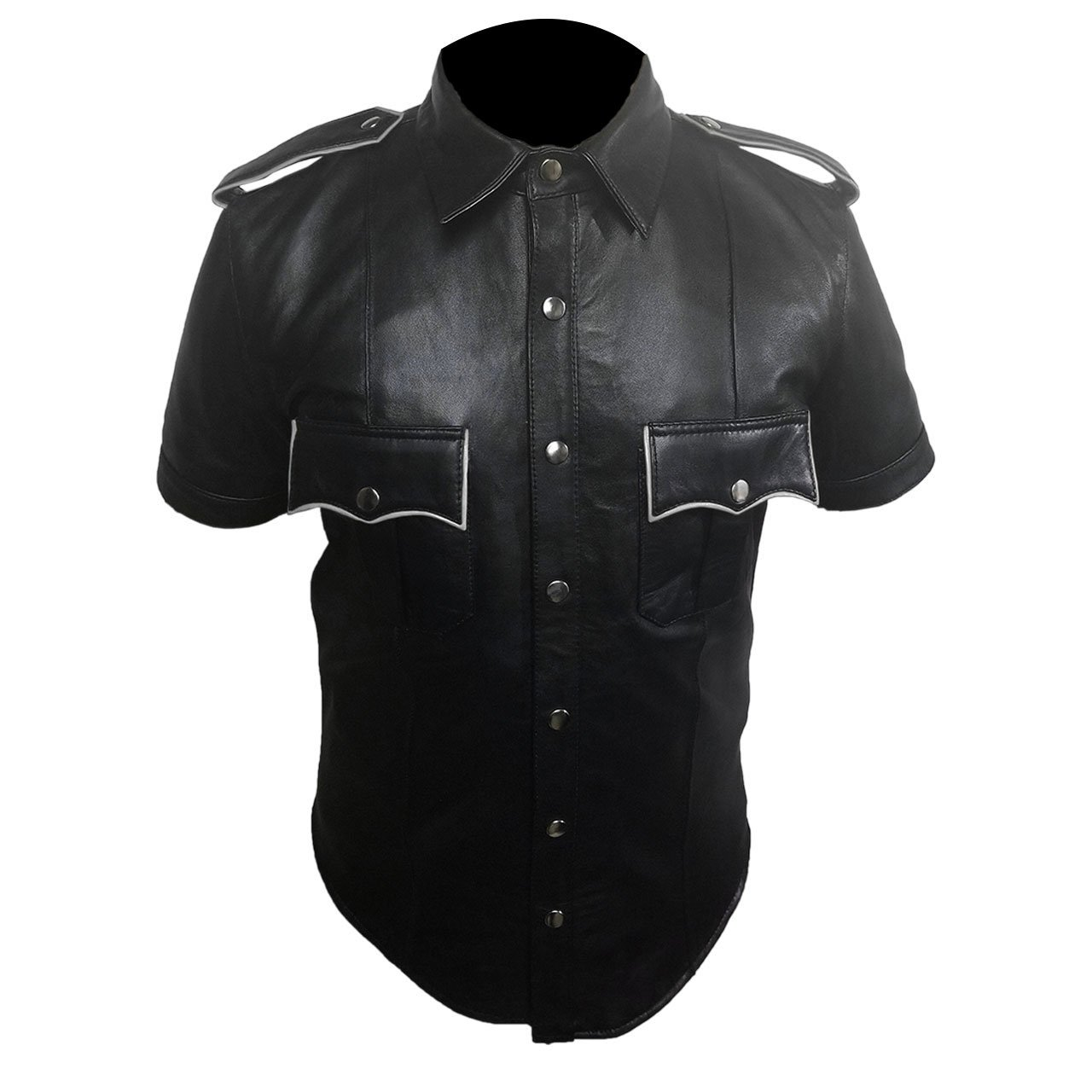 Mens Black Sheep or Cow Leather Police Real Uniform Shirt with White Piping BLUF Gay